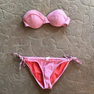 Seersucker strapless bathing suit